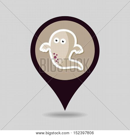 Halloween Ghost mapping pin icon vector illustration eps 10