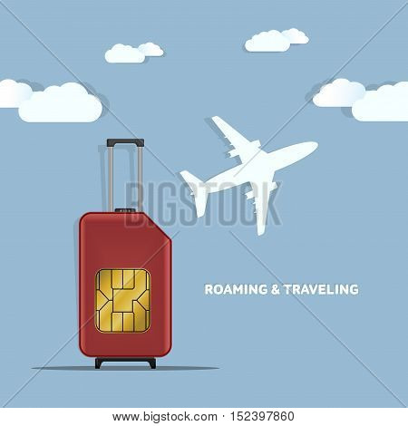 Travel SIM vector illustration on blue radial gradient background. Roaming. Luggage. World map.
