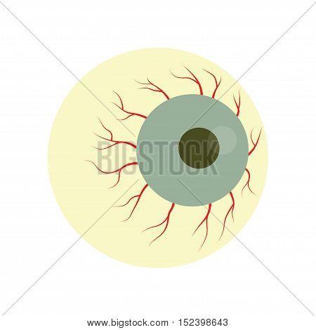 Bloodshot eyeball zombie monster. Halloween zombie eye. vector illustration.