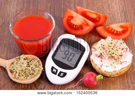Glucometer, Freshly Sandwich With Vegetables, Tomato Juice, Healthy Nutrition