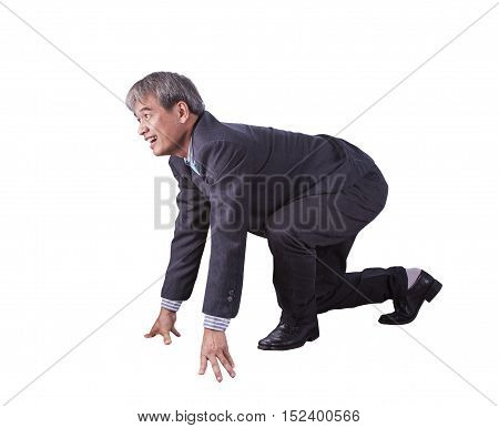 asian business man posting as runner on start approach for running competition isolate white background