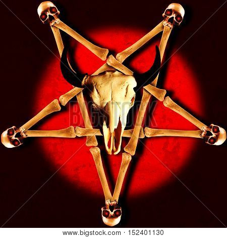 Pentagram made of crossed bones with human and animal skulls