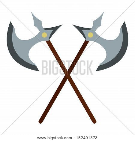 Medieval battle axe icon. Flat illustration of axe vector icon for web design