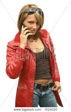 A Beautiful Woman With Phone