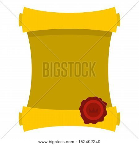 Old paper scroll icon. Flat illustration of paper scroll vector icon for web design