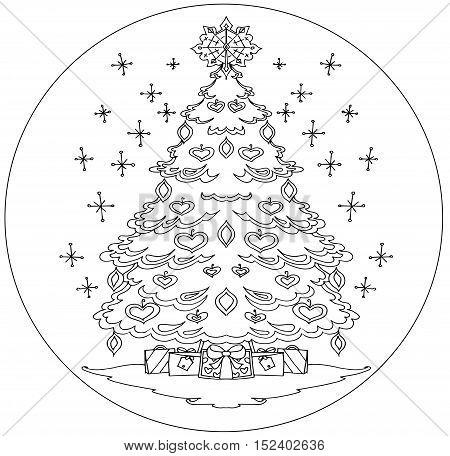 Christmas tree coloring mandala on a white background.