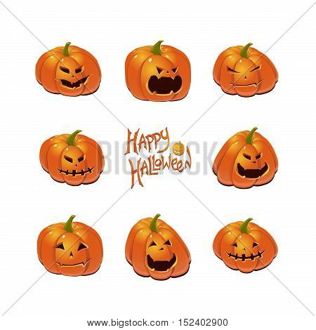 Halloween set with eight scary Jack-O-Lantern pumpkins. Vector icon collection.