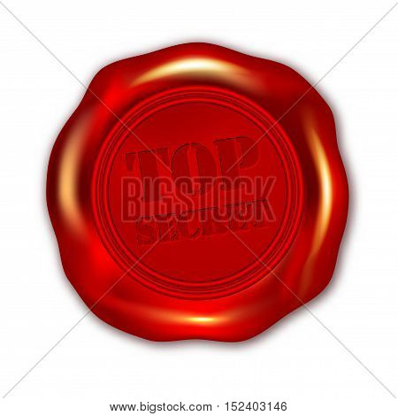 Red TOP SECRET wax seal on white background - vector illustration