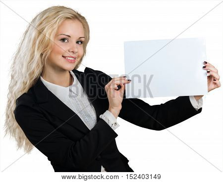 Young Businesswoman Holding a White Placeholder - Isolated