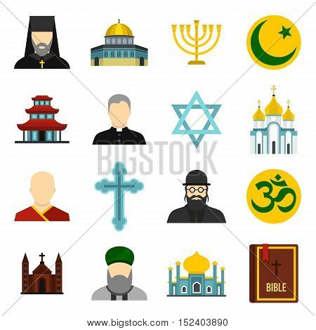 Religious symbol icons set. Flat illustration of 16 religious symbol vector icons for web