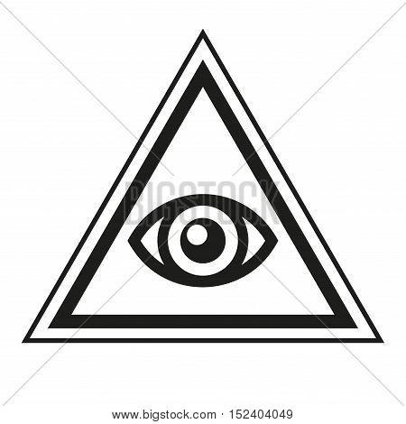 Masonic Symbol. All Seeing Eye Inside Pyramid Triangle Icon. Vector illustration