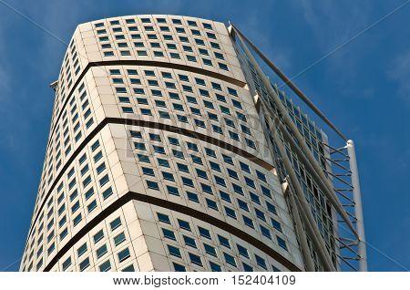 Malmo Sweden - August 04 2010: The Turning Torso skyscraper located in Malmo Sweden.