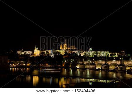 Prague Castle, Charles Bridge and the Vltava River at night