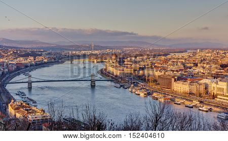 Panoramic view of Budapest from Gellert hill, Hungary