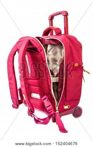 Travelling. Bagpack on wheels isolated high resolution
