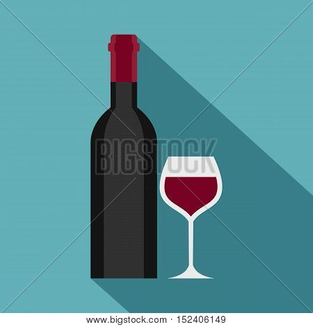 Glass and bottle of red wine icon. Flat illustration of glass and bottle of wine vector icon for web