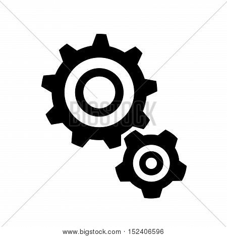 Cogs Gears Silhouette Icon. A vector silhouette icon of 2 cogs.