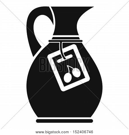 Jug with olive oil icon. Simple illustration of olive oil jug vector icon for web