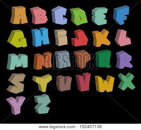 3D graffiti color fonts alphabet over black