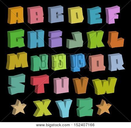 3D graffiti blocky color fonts alphabet over black