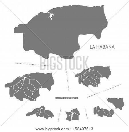 La Habana Cuba Map grey illustration high res
