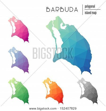 Set Of Vector Polygonal Barbuda Maps Filled With Bright Gradient Of Low Poly Art. Multicolored Islan