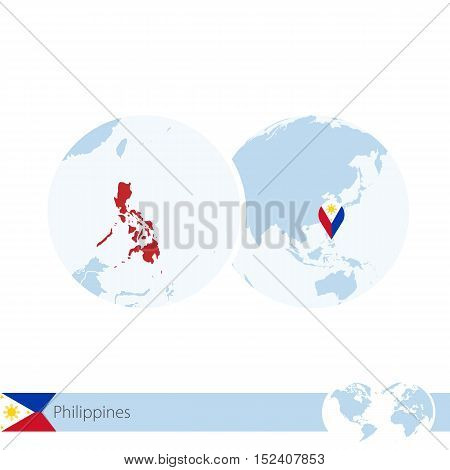Philippines On World Globe With Flag And Regional Map Of Philippines.