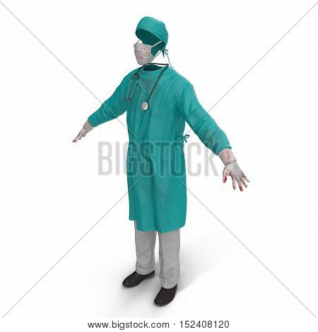 Medical male workers clothes stained with blood isolated on white background. No people. 3D illustration