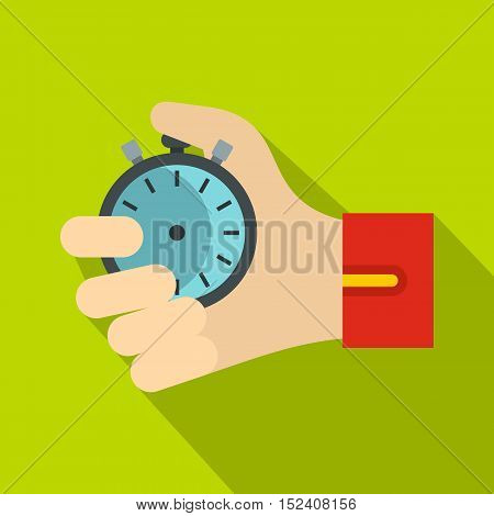 Hand holding stopwatch icon. Flat illustration of stopwatch vector icon for web isolated on green background