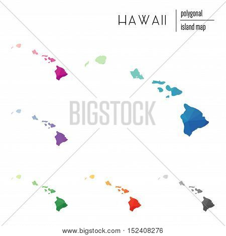 Set Of Vector Polygonal Hawaii Maps Filled With Bright Gradient Of Low Poly Art. Multicolored Island