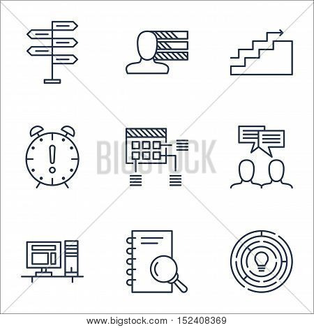 Set Of Project Management Icons On Discussion, Growth And Schedule Topics. Editable Vector Illustrat