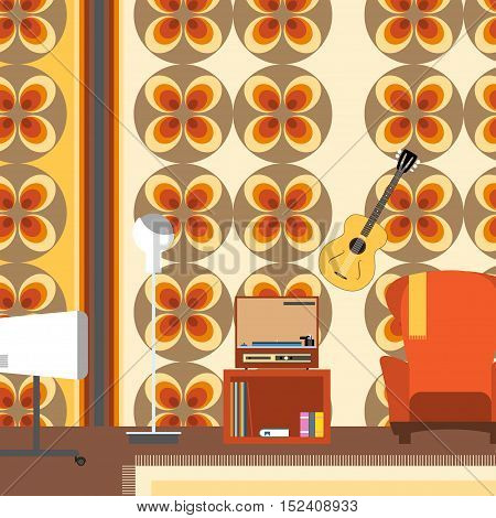 Living room interior with armchair TV guitar in the style of 70's vector illustration.
