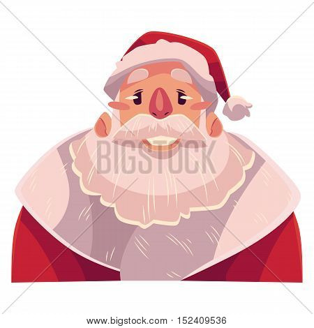 Santa Claus face, smiling facial expression, cartoon vector illustrations isolated on white background. Santa Claus emoji with wide smile, white teeth. Happy, glad, smiling face expression