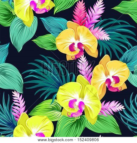 vector orchids on black. Yellow orchids with bright green leaves, palms, ginger flowers. seamless pattern, floral design. editable vector on black background.