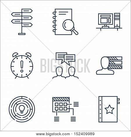 Set Of Project Management Icons On Discussion, Computer And Schedule Topics. Editable Vector Illustr