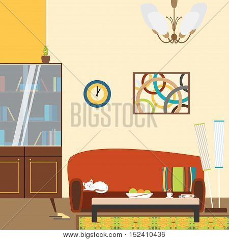 Vector illustration of a living room interior with sofa bookcase floor lamp in the style of 70's.