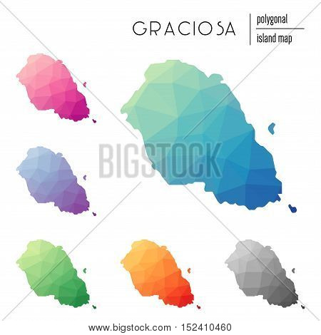 Set Of Vector Polygonal Graciosa Maps Filled With Bright Gradient Of Low Poly Art. Multicolored Isla