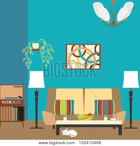 Living room interior with sofa and player in the style of 70's vector illustration.