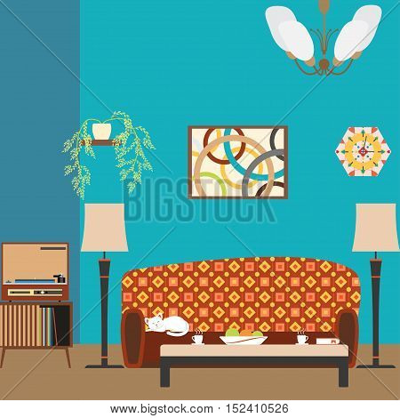 Living room interior with sofa in the style of 70's vector illustration.