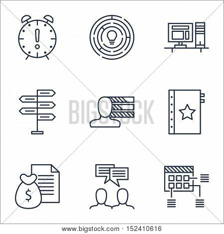 Set Of Project Management Icons On Report, Schedule And Warranty Topics. Editable Vector Illustratio