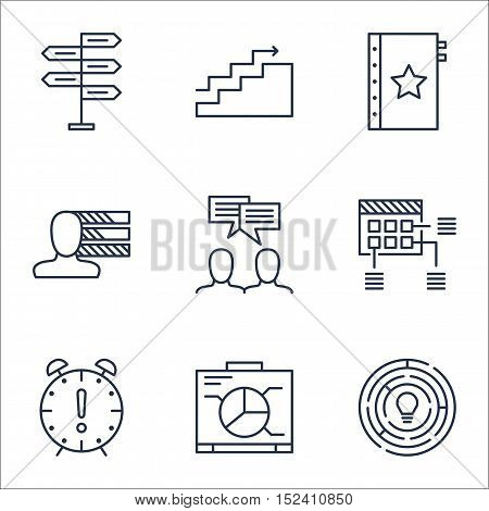 Set Of Project Management Icons On Growth, Personal Skills And Warranty Topics. Editable Vector Illu