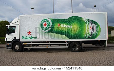 Almere, The Netherlands - October 19, 2016: Heineken truck parked in a public parking lot. Nobody in the vehicle.