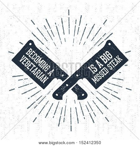 Hand drawn label with textured cleaver knifes vector illustration and
