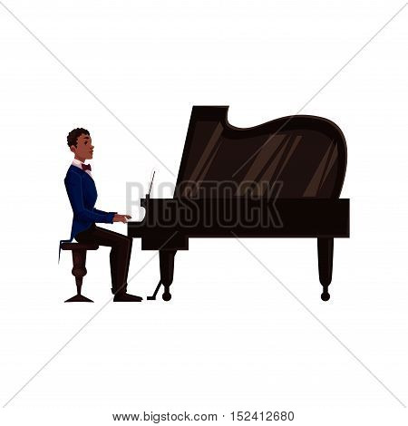 Young African American male piano player, cartoon vector illustration isolated on white background. Side view of black man in suit and bow tie playing grand piano with open lid