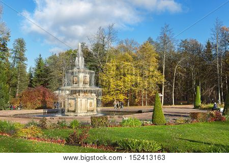 PETERHOF SAINT PETERSBURG RUSSIA - OCTOBER 09 2016: Roman fountain in Lower Gardens of Peterhof (suburb of St. Petersburg) in autumn