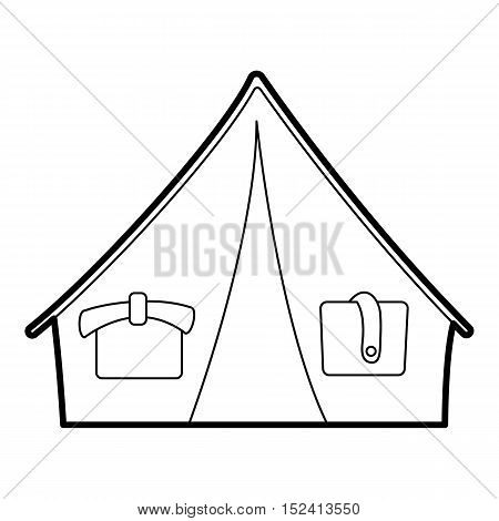 Tent icon. Outline illustration of tent vector icon for web design