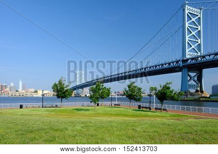 Benjamin Franklin Bridge between Philadelphia, Pennsylvania and Camden, NJ
