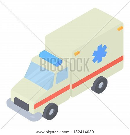 Ambulance icon. Isometric 3d illustration of ambulance vector icon for web