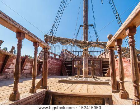 Deck of a shipwrecked forgotten sailing ship