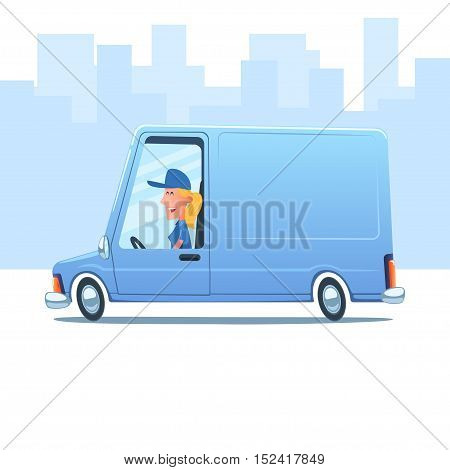 Cartoon smiling woman driving a service van against the background of city.